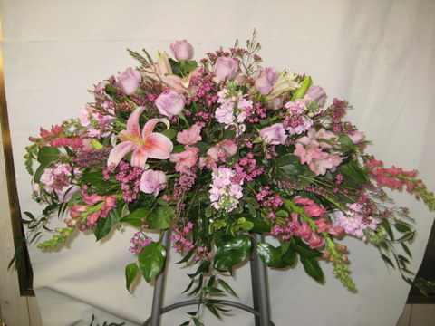 Pretty Pink Casket Spray