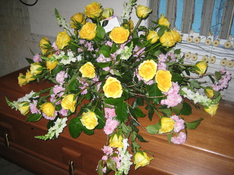 Springtime Casket Cover with Yellow Roses