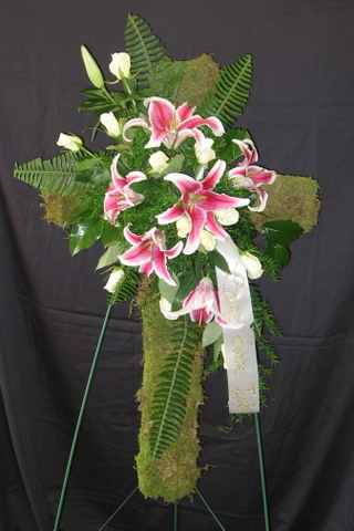 Cross of Moss and Lilies